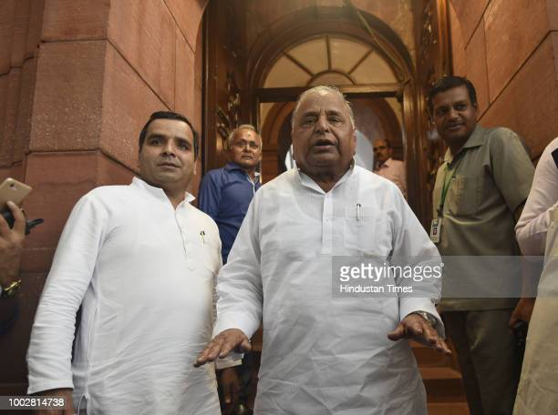 Samajwadi Party leader Mulyam Singh Yadav arrives for third day of Monsoon Session of Parliament on July 20 2018 in New Delhi India A debate is under...
