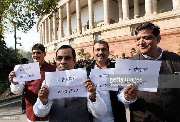 Samajwadi Party MPs protesting against Babri Masjid demolition during Parliament winter session of Parliament House on December 6 2013 in New Delhi...