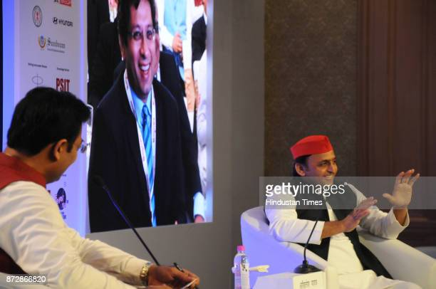 Samajwadi Party national president and former UP chief minister Akhilesh Yadav during the Hindustan Shikhar Samagam 2017 on November 11 2017 in...