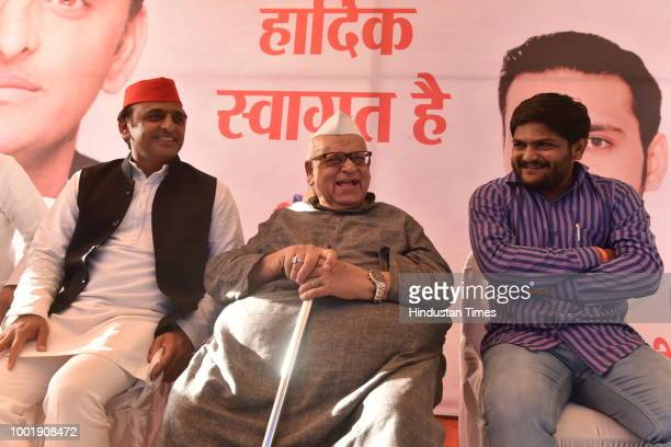 Samajwadi party president Akhilesh Yadav addresses a press conference on July 19 2018 in Bhopal India Samajwadi party president is on his threeday...