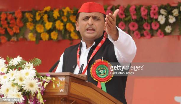 Samajwadi Party President Akhilesh Yadav during the party's 8th state convention at Ramabai Maidan on September 23 2017 in Lucknow India Akhilesh...