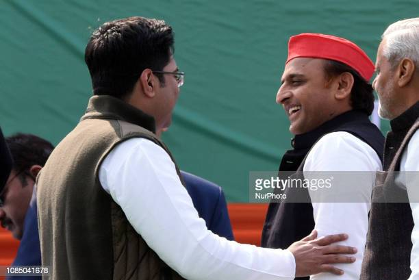 Samajwadi Party president Akhilesh Yadavand ABHISHEK BANERJEE MP and nefew of Mamata Banerjee CM of West Bengal during a rally attended by leaders...