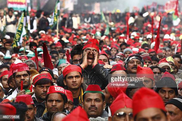 Samajwadi party supporters during the protest by Janta Parivar against Modi Government at Jantar Mantar on December 22 2014 in New Delhi India