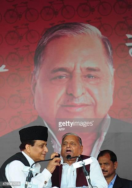 Samajwadi Party Supremo Mulayam Singh Yadav with party leader Mohammad Azam Khan addresses a public rally Desh Banao Desh Bachao at the Parade...