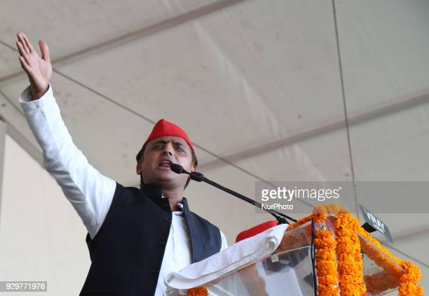 Samajwadi Party's national president and former Chief Minister of state of Uttar Pradesh Akhilesh Yadav speaks during a public rally for the by poll...