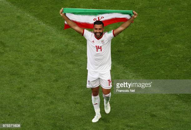 Saman Ghoddos of Iran celebrates his side's win following the 2018 FIFA World Cup Russia group B match between Morocco and Iran at Saint Petersburg...