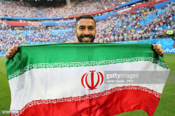 Saman Ghoddos of Iran celebrates victory at the end of the 2018 FIFA World Cup Russia group B match between Morocco and Iran at Saint Petersburg...