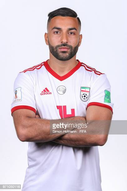 Saman Ghoddos of Iran poses during the official FIFA World Cup 2018 portrait session at Bakovka Training Base on June 9 2018 in Moscow Russia