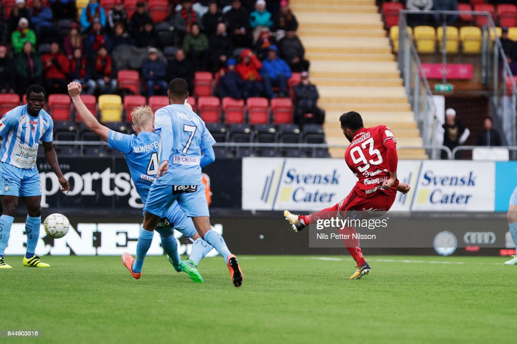Saman Ghoddos of Oestersunds FK shoots to score to 2-0 during the Allsvenskan match between Ostersunds FK and Athletic FC Eskilstuna at Jamtkraft Arena on September 9, 2017 in Ostersund, Sweden.