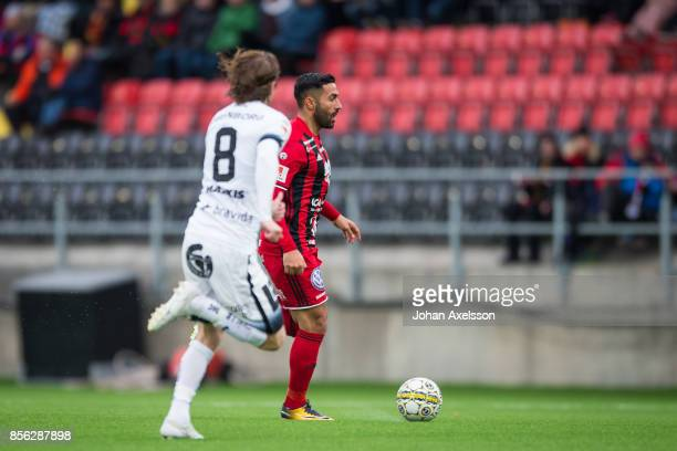 Saman Ghoddos of Ostersunds FK and Erik Friberg of BK Hacken competes for the ball during the Allsvenskan match between Ostersunds FK and BK Hacken...