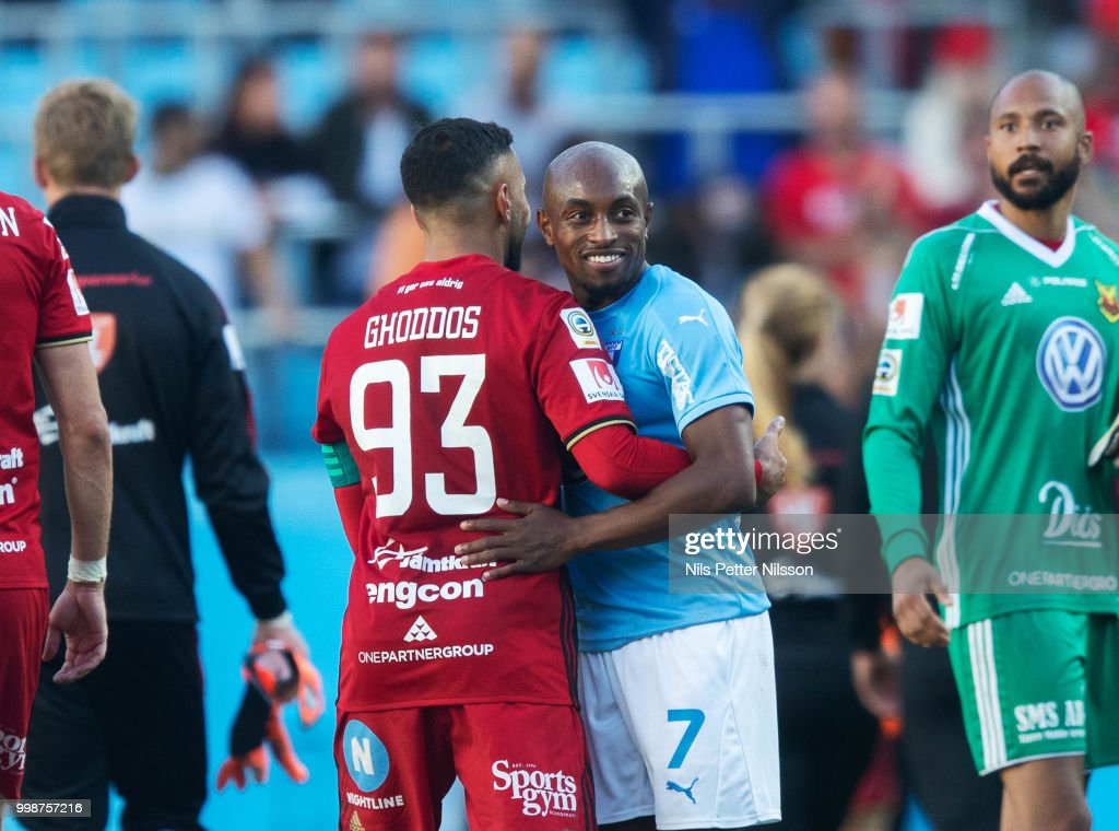 Saman Ghoddos of Ostersunds FK and Fouad Bachirou of Malmo FF after the Allsvenskan match between Malmo FF and Ostersunds FK at Malmo Stadion on July 14, 2018 in Malmo, Sweden.