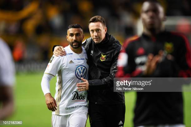 Saman Ghoddos of Ostersunds FK and Ian Burchnall head coach of Ostersunds FK after the Allsvenskan match between IF Elfsborg and Ostersunds FK at...