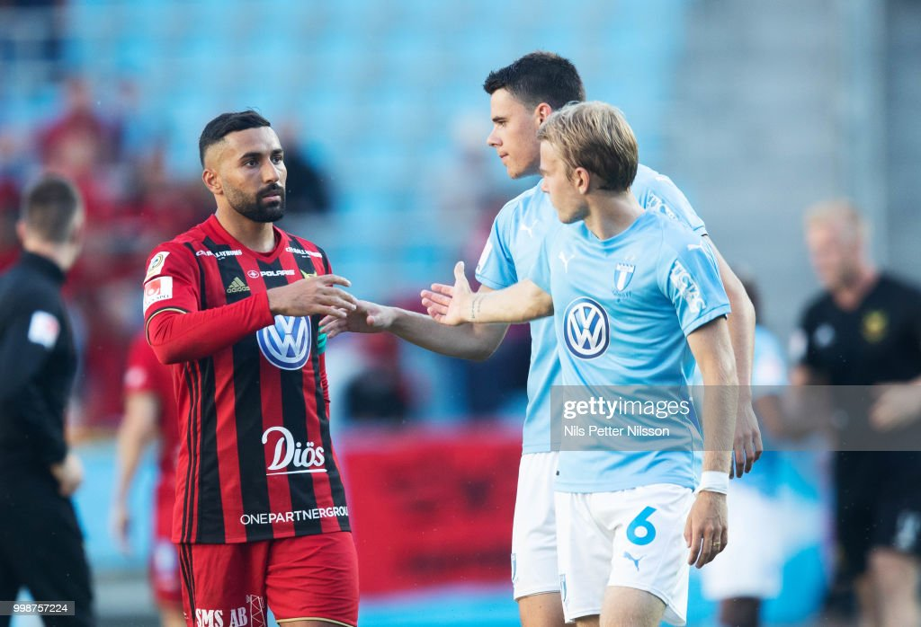 Saman Ghoddos of Ostersunds FK and Oscar Lewicki of Malmo FF after the Allsvenskan match between Malmo FF and Ostersunds FK at Malmo Stadion on July 14, 2018 in Malmo, Sweden.