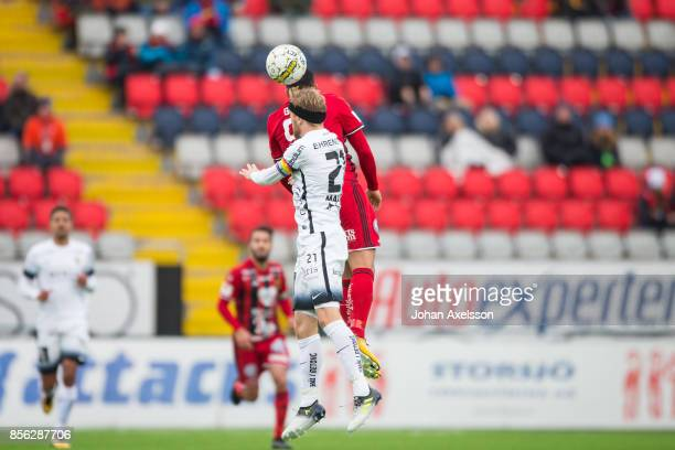 Saman Ghoddos of Ostersunds FK and Rasmus Lindgren of BK Hacken competes for the ball during the Allsvenskan match between Ostersunds FK and BK...