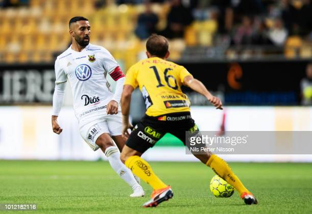 Saman Ghoddos of Ostersunds FK and Robert Gojani of IF Elfsborg competes for the ball during the Allsvenskan match between IF Elfsborg and Ostersunds...