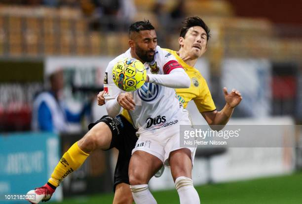 Saman Ghoddos of Ostersunds FK and Stefan Ishizaki of IF Elfsborg competes for the ball during the Allsvenskan match between IF Elfsborg and...