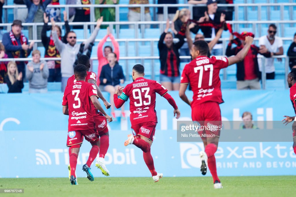 Saman Ghoddos of Ostersunds FK celebrates after scoring to 1-1 during the Allsvenskan match between Malmo FF and Ostersunds FK at Malmo Stadion on July 14, 2018 in Malmo, Sweden.