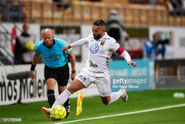 Saman Ghoddos of Ostersunds FK during the Allsvenskan match between IF Elfsborg and Ostersunds FK at Boras Arena on August 6 2018 in Boras Sweden