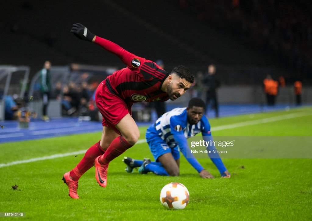 Saman Ghoddos of Ostersunds FK during the UEFA Europa League group J match between Hertha BSC and Ostersunds FK at the Olympic Stadium on December 7, 2017 in Berlin, Germany.