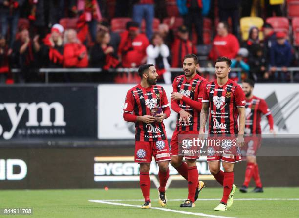 Saman Ghoddos Sotirios Papagiannopoulus and Jamie Hopcutt of Oestersunds FK after the Allsvenskan match between Ostersunds FK and Athletic FC...