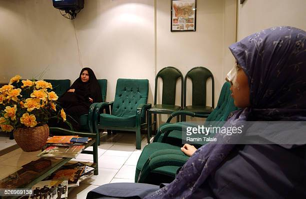 Samaneh sits in the waiting room of her doctor's office a week after having plastic surgery on her nose Rhinoplastic surgery is popular among Iranian...