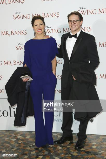Samanta Piccinetti and Michelangelo Tommaso attend the 'Saving Mr Banks' premiere at The Space Moderno on February 6 2014 in Rome Italy