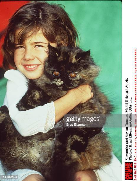 Samantha And Her Cat Tomato, Model Released Stock