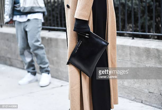Samantha Angelo, bag detail, is seen outside the Alexander Wang show during New York Fashion Week: Women's Fall/Winter 2016 on February 13, 2016 in...