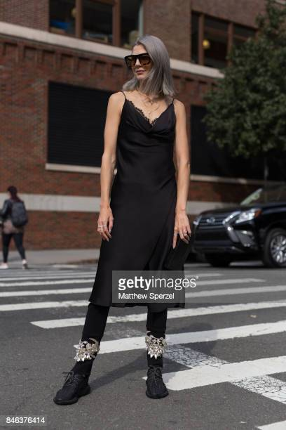 Samantha Angelo is seen attending NaeeM Khan and Chiara Boni La petite Rose during New York Fashion Week wearing Sally LaPointe Yeezy Nancy Gonzales...