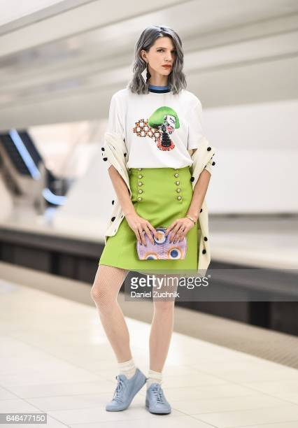 Samantha Angelo is seen in Tribeca wearing a Prada tshirt Gucci skirt Ella McHugh clutch Common Projects sneakers and Missoni earrings on February 28...