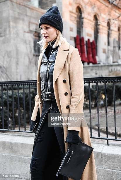 Samantha Angelo is seen outside the Alexander Wang show during New York Fashion Week: Women's Fall/Winter 2016 on February 13, 2016 in New York City.