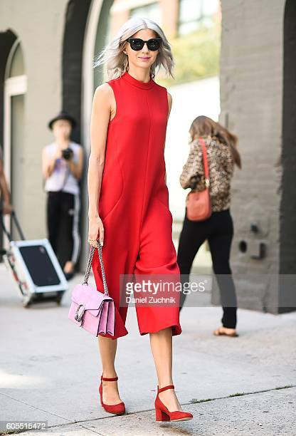 Samantha Angelo is seen outside the Rodarte show wearing a red dress and red shoes during New York Fashion Week Spring 2017 on September 13 2016 in...