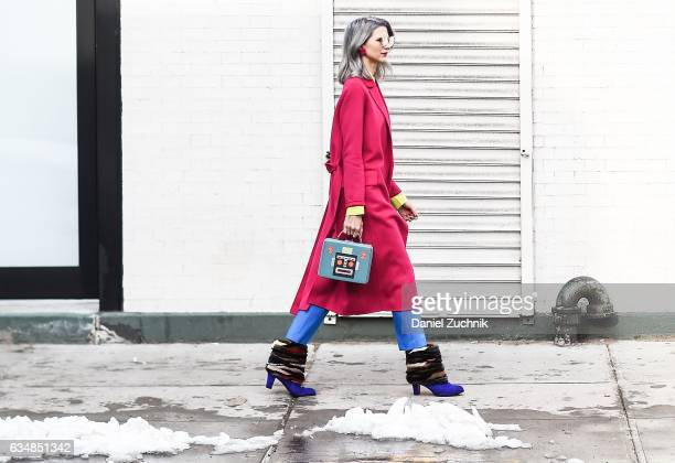 Samantha Angelo is seen wearing a pink coat at the Tibi show during New York Fashion Week Women's Fall/Winter 2017 on February 11 2017 in New York...