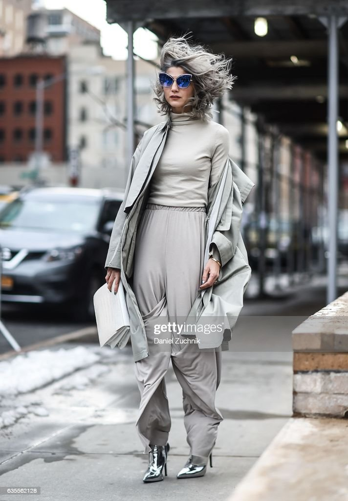 Samantha Angelo is seen wearing an all gray outfit outside the Anna Sui show during New York Fashion Week on February 15, 2017 in New York City.