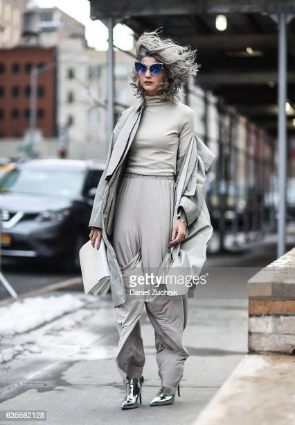 Samantha Angelo is seen wearing an all gray outfit outside the Anna Sui show during New York Fashion Week on February 15 2017 in New York City