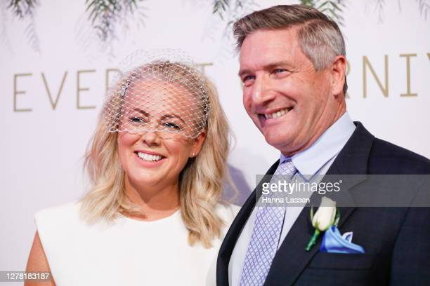 Samantha Armytage and Richard Lavender attend the Everest Carnival Fashion Lunch on TAB Epsom Day at Royal Randwick Racecourse on October 03, 2020 in...