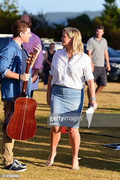 Samantha Armytage and Sam Mac are seen on set during a Sunrise filming at Palm Beach on March 2 2016 in Sydney Australia