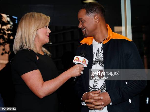 Samantha Armytage interviews American actor Will Smith at Martin place ahead of his appearance on 'Sunrise' on January 15 2018 in Sydney Australia