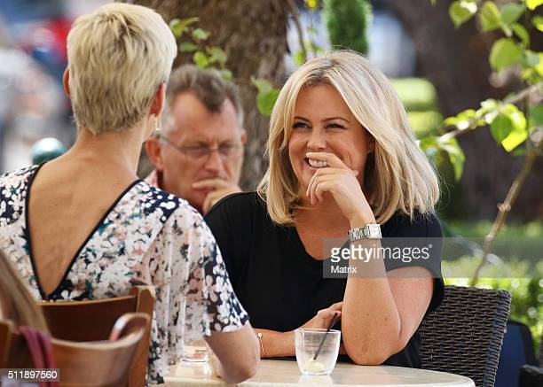Samantha Armytage pictured having lunch with Jessica Rowe at Indigo Cafe Double Bay on February 17 2016 in Sydney Australia