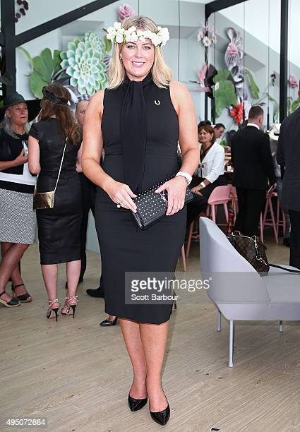 Samantha Armytage poses at the Myer Marquee on Derby Day at Flemington Racecourse on October 31 2015 in Melbourne Australia