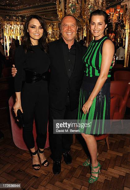 Samantha Barks and Michael Kors with Yasmin Le Bon attend the Alexandra Shulman and Vogue Dinner in Honour of Michael Kors at the Cafe Royal on April...
