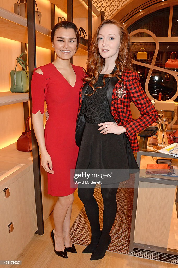Samantha Barks (L) and Olivia Grant attend the Moynat London boutique opening on March 12, 2014 in London, England.