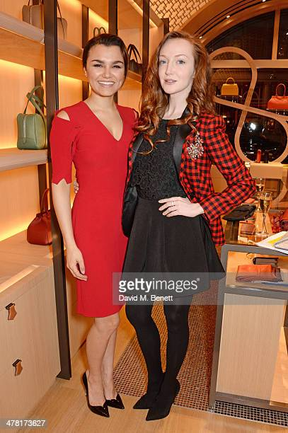 Samantha Barks and Olivia Grant attend the Moynat London boutique opening on March 12 2014 in London England