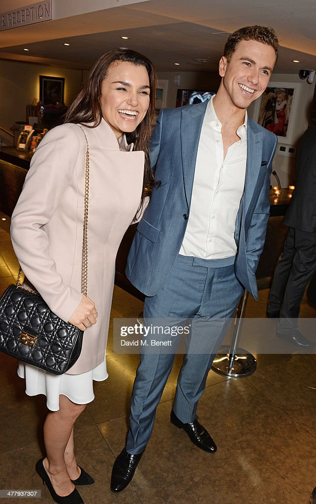 Samantha Barks (L) and Richard Fleeshman attend the press night performance of 'Urinetown' at the St James Theatre on March 11, 2014 in London, England.