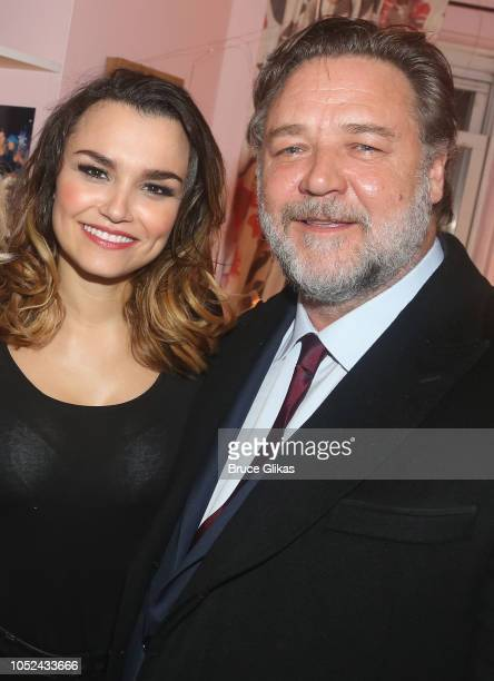 Samantha Barks and Russell Crowe pose backstage at the hit musical based on the film 'Pretty Woman' on Broadway at The Nederlander Theatre on October...
