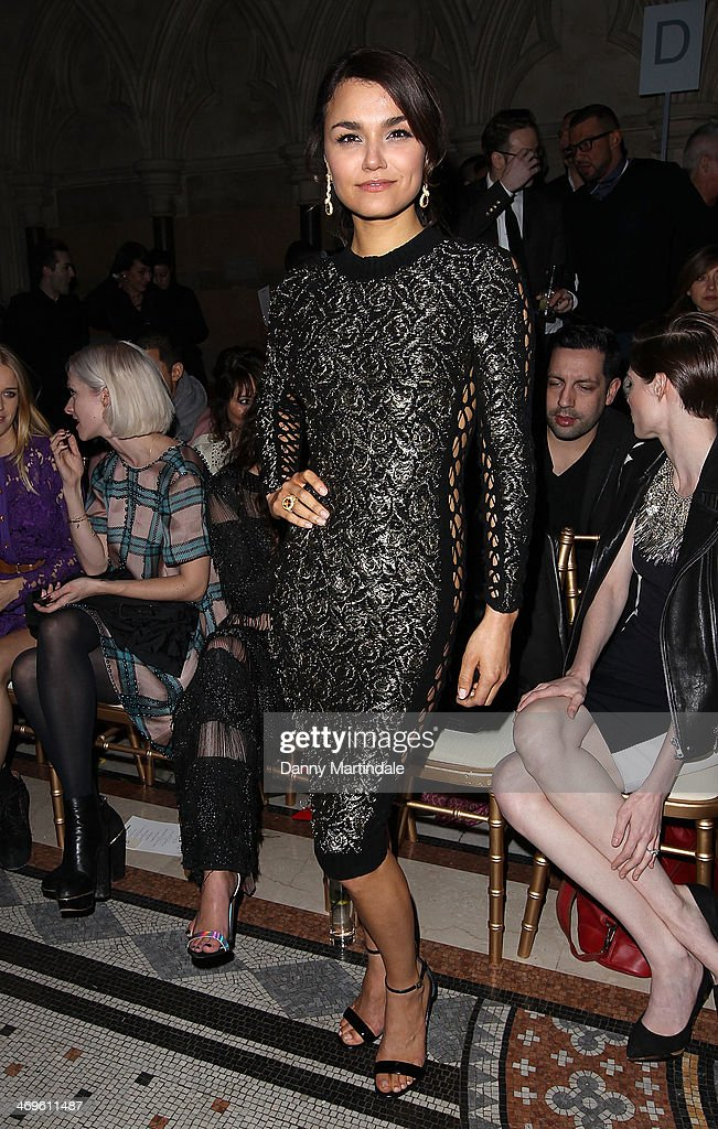 Samantha Barks attends the Julien Macdonald show at London Fashion Week AW14 at on February 15, 2014 in London, England.