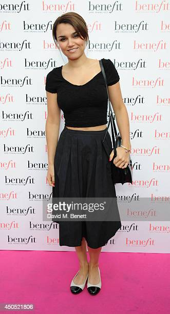 Samantha Barks attends the launch party of Gabbi's Head a popup pub for women created by Benefit Cosmetics open for the duration of the World Cup on...