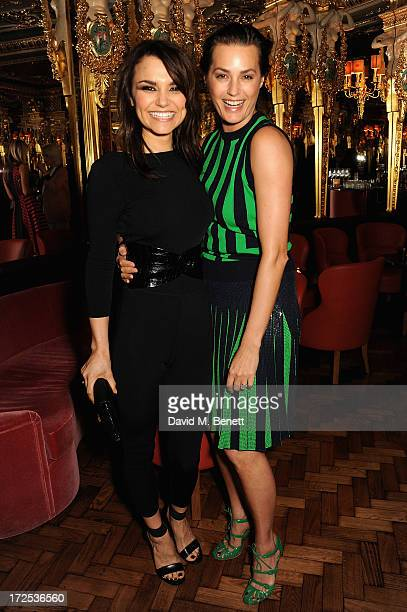 Samantha Barks with Yasmin Le Bon attend the Alexandra Shulman and Vogue Dinner in Honour of Michael Kors at the Cafe Royal on April 25 2013 in...