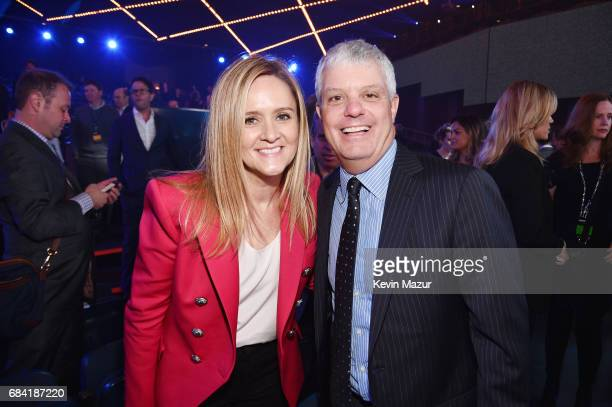 Samantha Bee and President of Turner David Levy attend the Turner Upfront 2017 show at The Theater at Madison Square Garden on May 17 2017 in New...