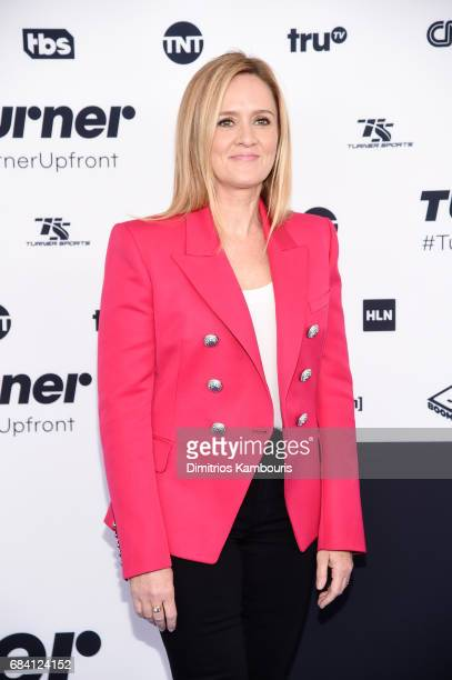 Samantha Bee attends the Turner Upfront 2017 arrivals on the red carpet at The Theater at Madison Square Garden on May 17 2017 in New York City...